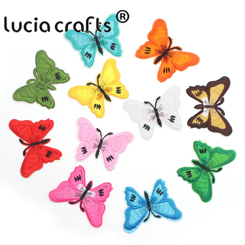 18775bb202 Lucia crafts 7 5.3cm Multi Colors Butterfly Patches Iron On Sewing Fabric  Sticker Embroidered