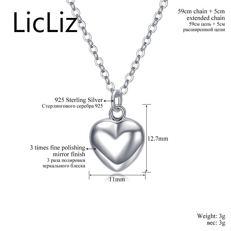 LicLiz Trendy 925 Sterling Gümüşü Güzgü Polyak Ürək Asılı - Gözəl zərgərlik - Fotoqrafiya 4