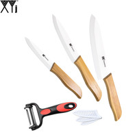 4 5 6 Inch Bamboo Handle Kitchen Knife XYJ Brand High Quality Ceramic Knife Multifunction Peeler