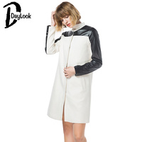 Daylook Newest Autumn Winter Women Open Stitch White Coat Black PU Patchwork Long Sleeve Outer Wear