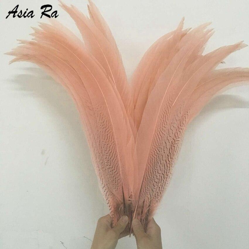 Розовые окрашенные серебряные перья фазана цвета шампань 65-70 см 75-80 см длинные куриные хвосты перо для свадьбы карнавала сценические украше...
