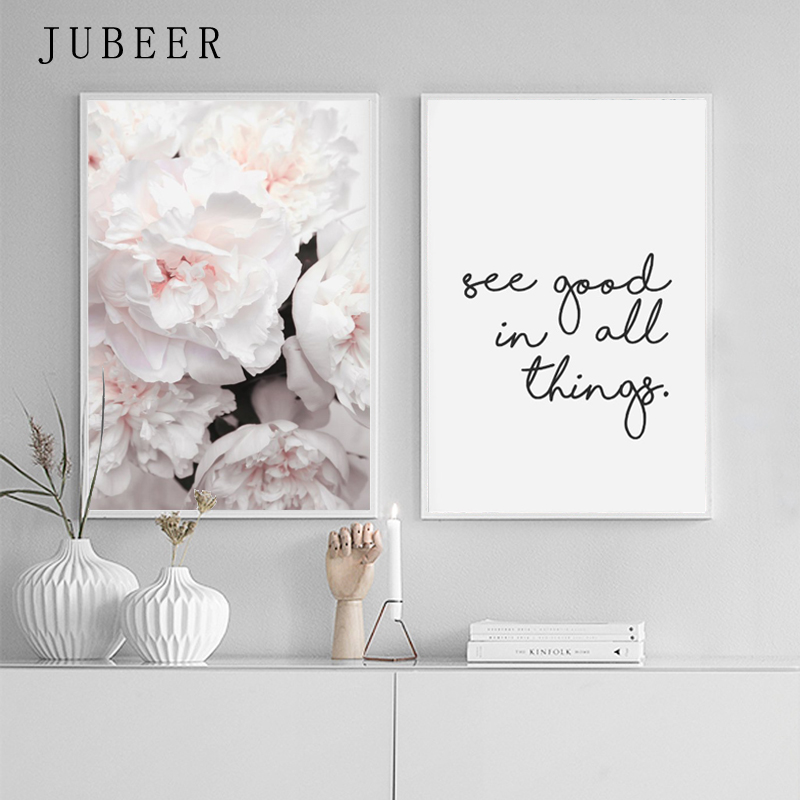 HTB19iO9XUvrK1RjSspcq6zzSXXao Scandinavian Style Peony Flower Canvas Print Large Wall Art Posters and Prints Quote Poster Flower Wall Pictures for Living Room