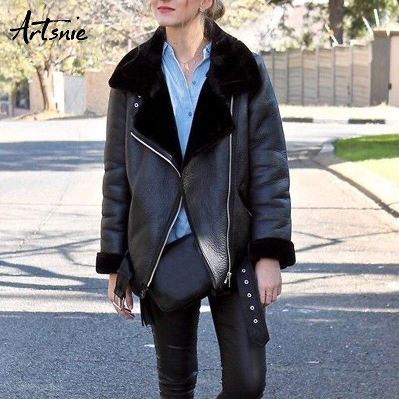 Artsnie Autumn 2018 Casual Faux Leather Jackets Women Winter Sashes Zipper Streetwear Biker Motorcycle Jacket Girls Coat Female-in Leather Jackets from Women's Clothing    2