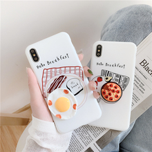 Lustige Frühstück Telefon Fall Für iphone 6 6s 7 8 plus Abdeckung Nette 3D Pizza Ei Silikon Fällen Für iphone X XS Max XR Zurück Fall Capa