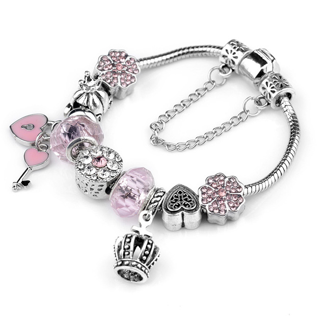 Queen Jewelry Silver Color Charms Bracelet Fantasy Crown Key Love Heart Brand For Women