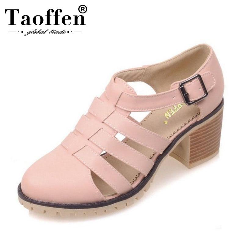 TAOFFEN 4 Color Size 32-43 Sexy Women High Heel Sandals Women Ankle Strap Round Toe Thick Heels Sandal Sexy Party Summer ShoesTAOFFEN 4 Color Size 32-43 Sexy Women High Heel Sandals Women Ankle Strap Round Toe Thick Heels Sandal Sexy Party Summer Shoes
