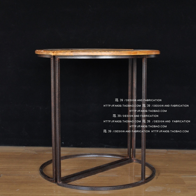 American Retro Pine Surface Semicircle Hob Bar Tables Wrought Iron Half Round Table In