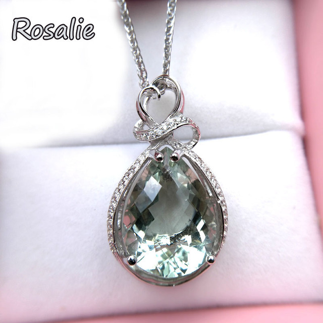 Rosalie,Waterdrop 10ct natural green amethyst gemstone pendant necklace 925 sterling silver fashion design for women best gift