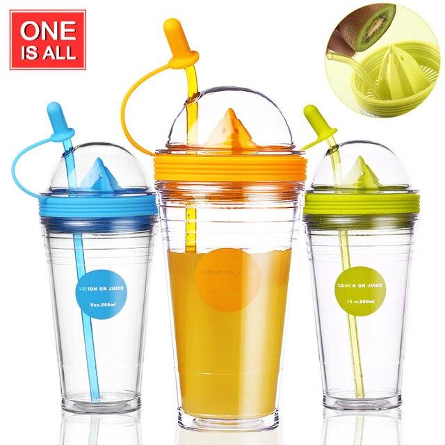 Fruit Infusing Infuser Water Bottle Sports Lemon Juice Bottle For Water Straw Coffee Milk Tea Water Tumbler Child Bottles