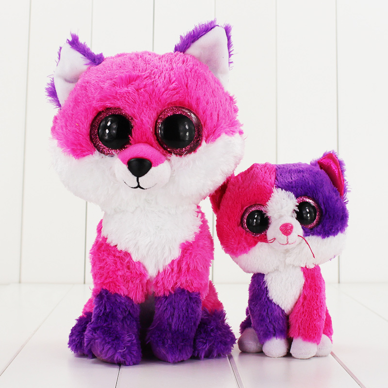 1525Cm Ty Beanie Boos Big Eyes Plush Toy Pink Cat Ty Baby -5759