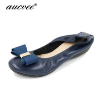 AUCVEE Brand Luxury Women Bow Blue Red Apricot Ballet Flats 2018 Fashion Plus Size 41 42 Shoes Egg Rolls Crystal Pregnant Flat