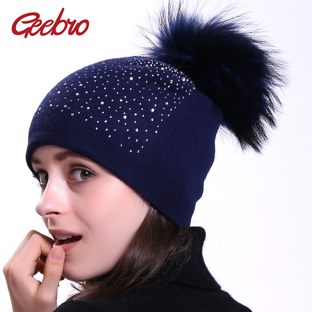 Geebro Women's Beanie Hat With Raccoon Pompom Winter Warm Cashmere Knitted Rhinestone Slouchy Beanie Hat For Femme Skullies