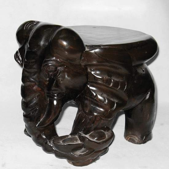 V Gallery Mahogany Elephant Carved Wooden Stool Vegetarian Like