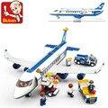 Новый Оригинальный Sluban B0366 Синий Airbus Самолет Модель Строительные Блоки 483 шт./компл. DIY Образовательные кирпичи игрушки Совместим Leping