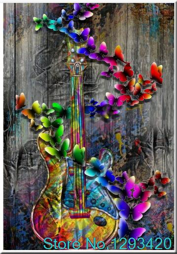 5D DIY Diamond Painting Cross Stitch Butterfly Violin Mosaic Full Embroidery Handmade Needlework