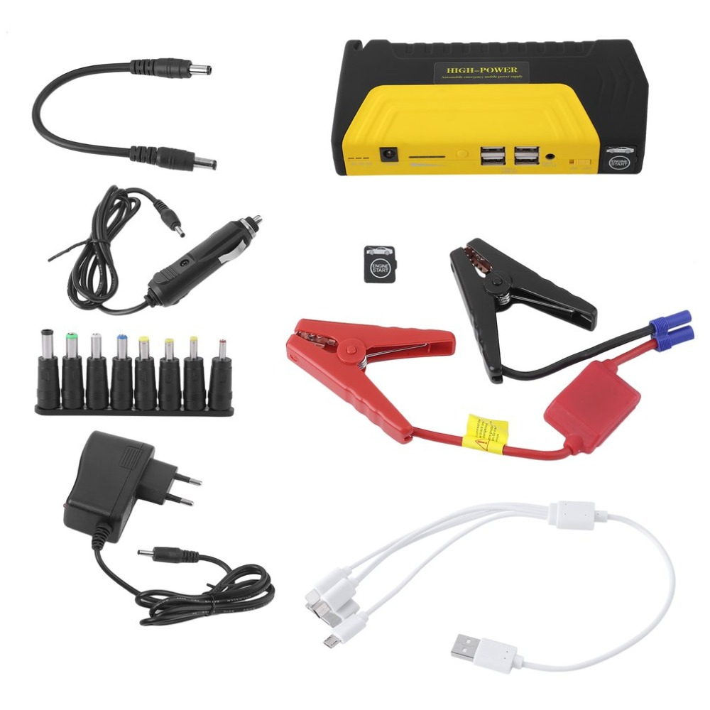 Multi-Functional Battery Charger Portable Car Jump Starter For 12V Car With 4USB 68800mAh Automobile Booster Power Bank NEW new 12v 89800mah portable 4usb car jump starter power bank tool kit booster charger battery automobile emergency led light
