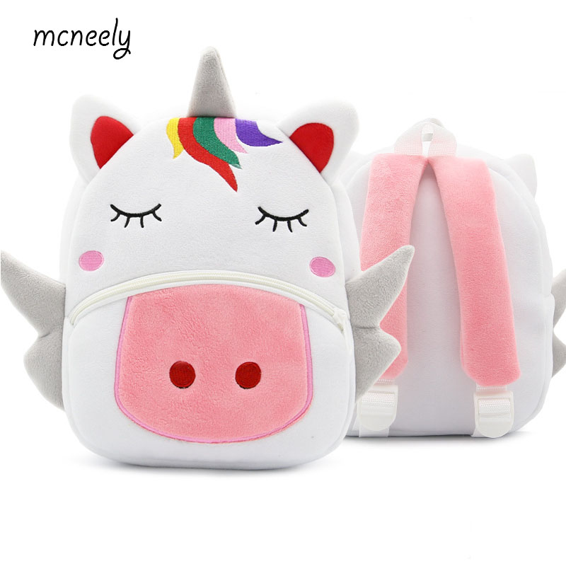 Hot Kindergarten Kid Unicorn Backpacks Baby Girls Boy Cute Schoolbag Plush Backpack Children Cartoon Pres Toys Gifts School Bag maange dropship leather cosmetic case portable storage makeup bags organizer brush holder cup pu material anne
