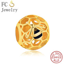 FC Jewelry Fit Original Pandora Charm Bracelet 925 Silver Gold Color Ball Grow Honey Bee Queen Black Enamel Bead Making Berloque(China)