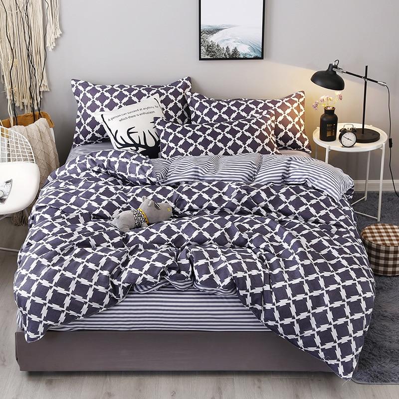 Bedding-Set Pillow-Case Duvet-Cover Flat-Sheet Printing Fashion Double-Size Single 3PCS/4PCS