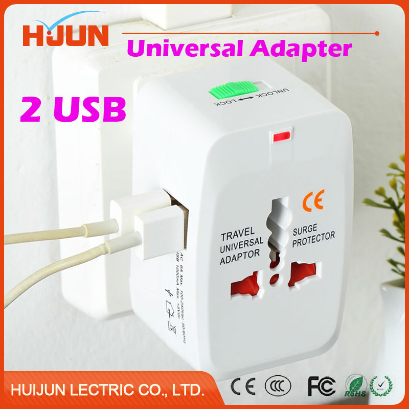 1Pcs Universal International Power Plug Adapter Socket 2 USB Charger for US UK EU AU Plug Travel Wall Converter Copper White all in one universal international plug adapter 2 usb port world travel ac power charger adaptor with au us uk eu converter plug