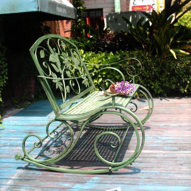 American wrought iron retro outdoor double rocking chair bench garden garden chair park chair garden leisure decoration