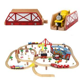 Puente de madera carril de tren de madera montaje accesorios de ferrocarril juguetes para regalos de los niños