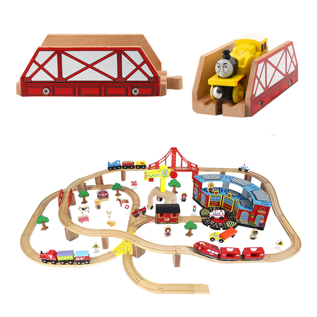 Wooden Bridge wooden train Track  Assembly Railway Accessories Toys For hildren Gifts