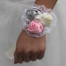 8piece/lot Artificial Flower for Wedding Prom Wrist Corsages Bridesmaid Sisters Flowers Party Decoration SW59412