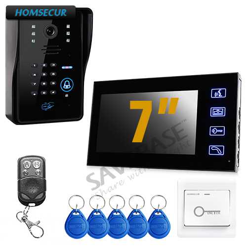 HOMSECUR Touch Key 7 LCD Video Door Phone Intercom System with IR Camera & Code Keypad + HOMSECUR Exit Button jeruan home 7 video door phone intercom system kit rfid waterproof touch key password keypad camera remote control in stock