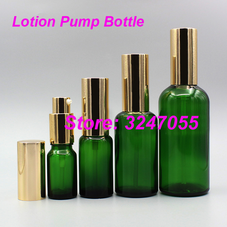 5ml10ml15ml20ml30ml50ml100ml Glass Cosmetic Foundation Green Bottle, Portable Lotion Pump Container, Makeup Emulsion Refillable цена