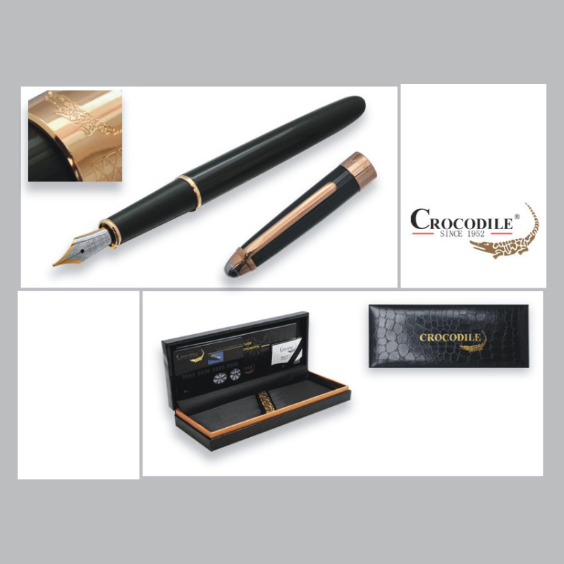 Writing Business Stationery Crocodile 136 Black and Gold Fountain Pen with 0.5mm Nib Luxury Metal Ink Pens for Christmas Gift