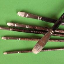 6 pièces/ensemble Qishuixuan furet blaireau cheveux huile pinceau Filbert tête douce avec juste acrylique pinceaux de peinture pour artiste meilleur cadeau