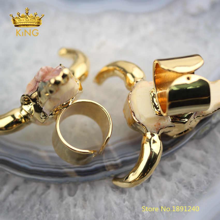 5 pcs ทองเรซิ่นฮอร์นแหวนแฟชั่นเครื่องประดับแกะสลัก Ox ฮอร์นเรซิ่นแหวน, เรซิ่น Oxhead แหวนสำหรับของขวัญวันเกิดผู้ชาย YT80