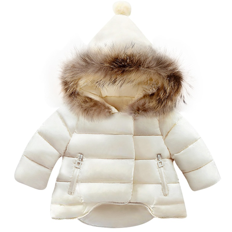 7ac5f19e436dd Baby Girls Jackets Winter Fur Outerwear Kids Warm Hooded Parka Children  Cotton-padded Coat Boys Girls Clothes 12M-6yrs wear