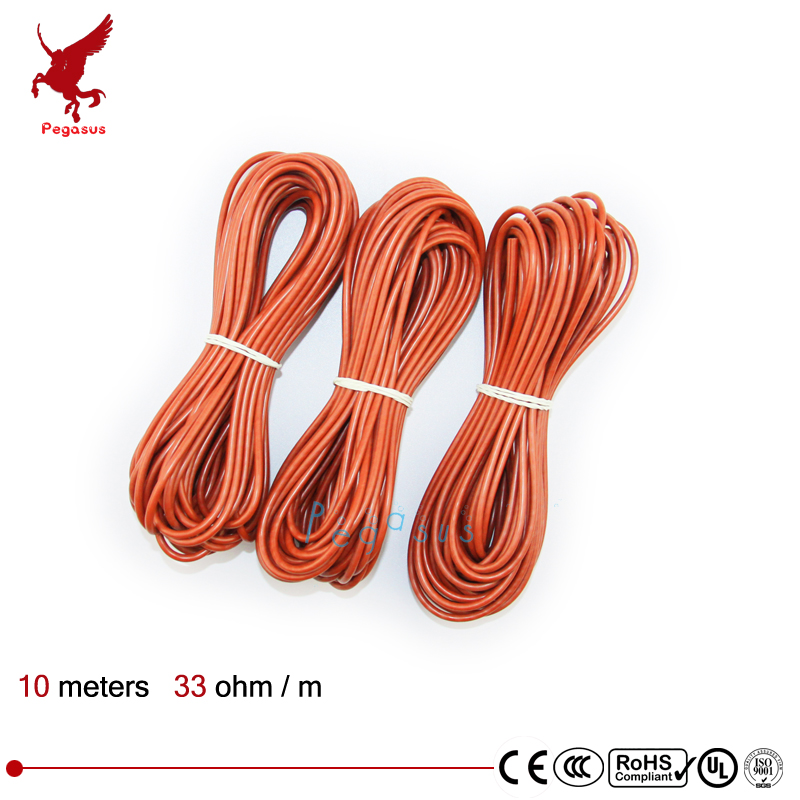 10meters Carbon fiber heating cable Silicon rubber heating cable 5V12V24V220V Heating cable 33ohm/m Heating wire low cost недорго, оригинальная цена