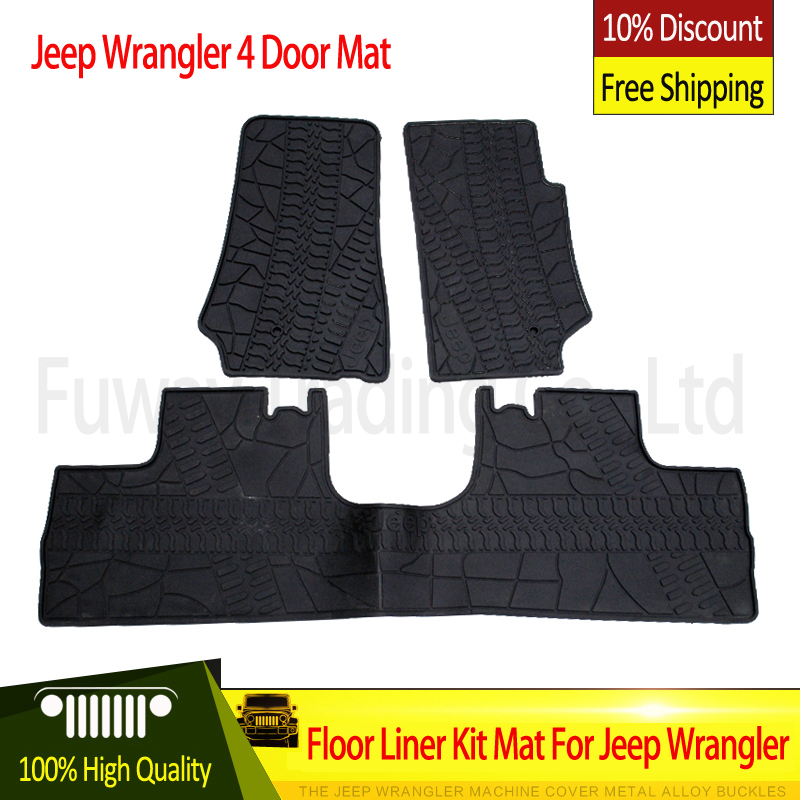 Free Shipping For Jeep Wrangler Black Rubber Car Mat
