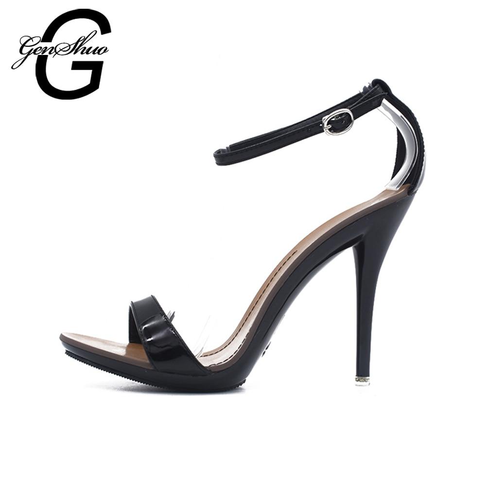 GENSHUO Сандалії жіночі Сексуальні Сандалії високого каблука Жіноче взуття на підборах Мода Договір Цукерки Колір Сексуальні Peep Toe Танцюючі Сандалії  t