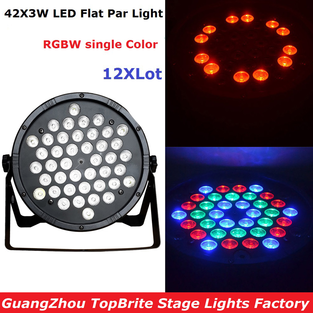 12Pcs/Lot 42X3W RGBW Single Color LED Flat Par Light 120W High Quality LED Par Cans For Professional Stage Dj Disco Lights