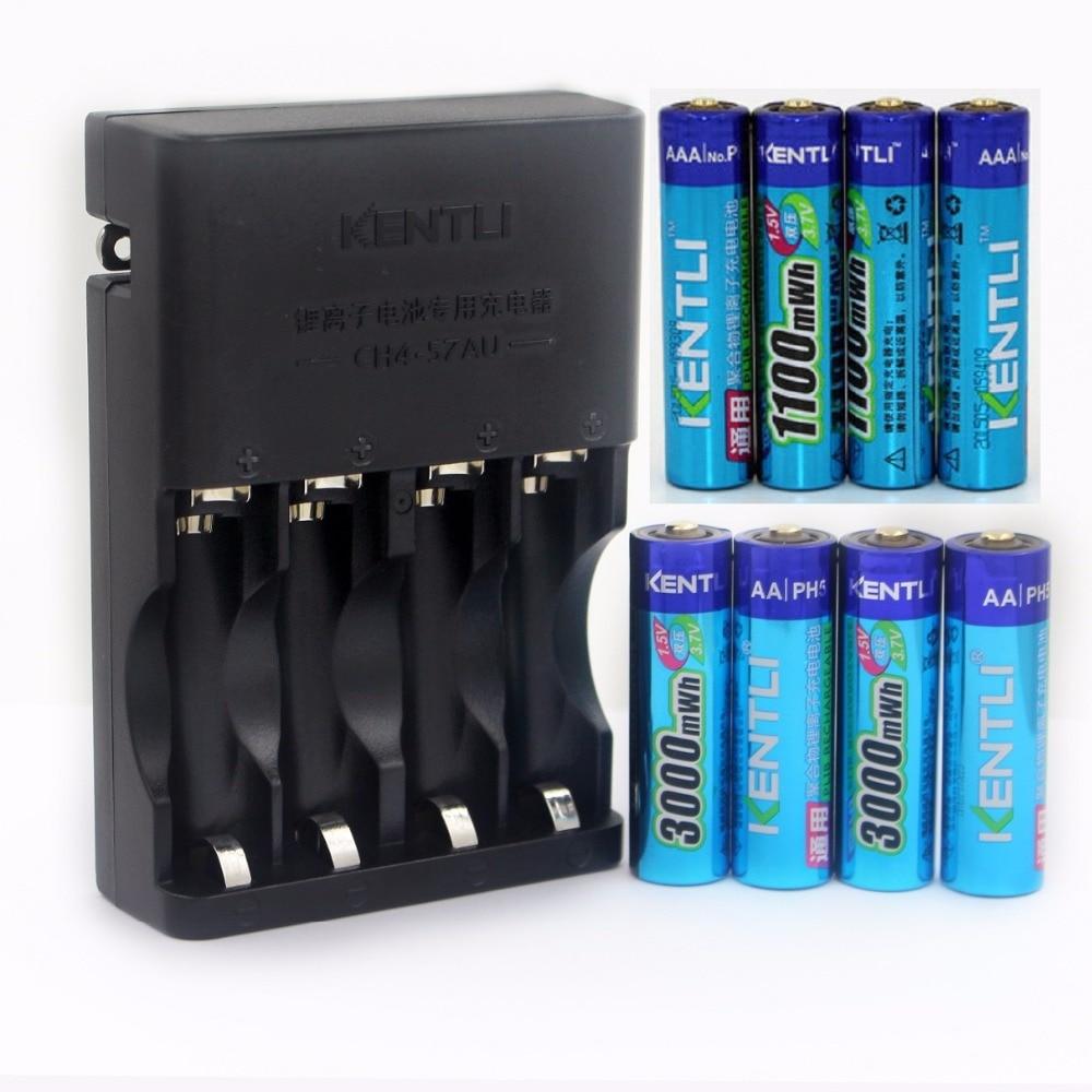 KENTLI 1,5 v 4 шт./лот 3000mWh AA батарея + 4pcs1100mWh AAA батарея перезаряжаемая батарея литий полимерная батарея
