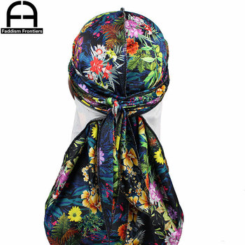 Custom Mens Print Velvet Durags Turban Hat Bandanas Headwear Floral Printed Men Durag Long Straps Waves Hair Accessories