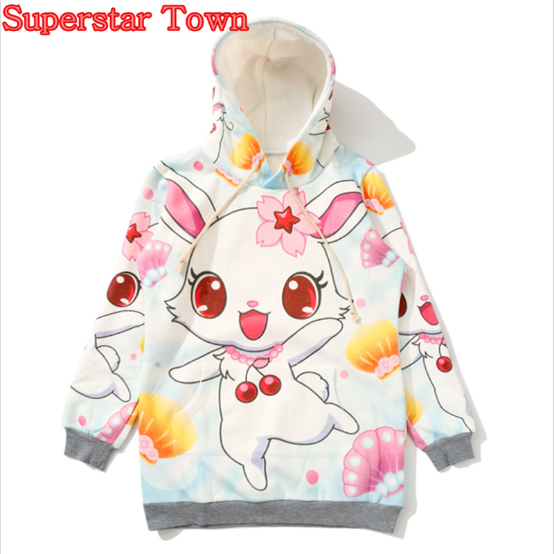 Rabbit Sweatshirts Women Long Sleeve Fleece Cherry blossoms Hoodie Winter Coat Kawaii Sweatshirt Female Hoodie Harajuku Pullover