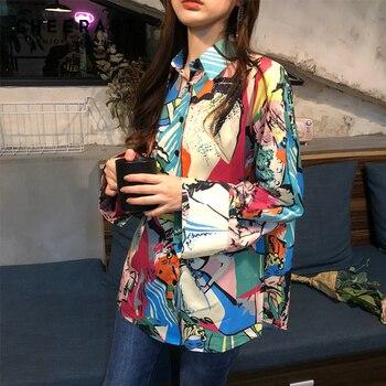 13d0a05b06 Cheerart estampado Vintage blusa Color bloque mujeres camisas coloridas  pintura abstracta impresión Blusa de manga larga Sping 2019 ropa