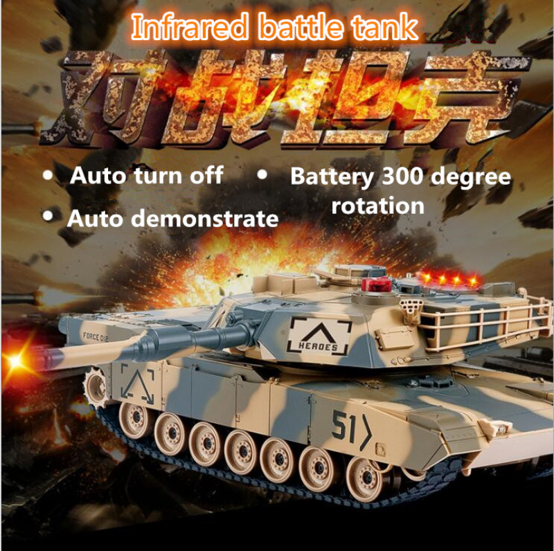 New 1:24 Scale America main Battle RC Tank HQ549 Infrared Army Battle Model Military Tank Toy War Game Toys partents-child toy protective outdoor war game military skull half face shield mask black