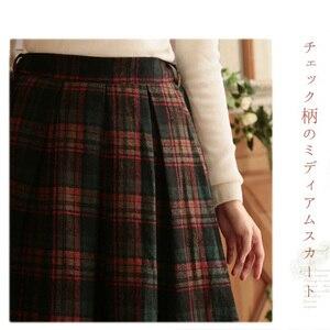 Японская клетчатая юбка Mori Girl, Весенняя винтажная Женская одежда в стиле ретро, до середины икры, в стиле Харадзюку с эластичной талией, женс...