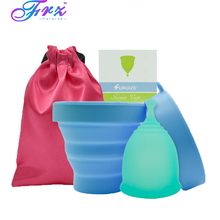 1pcs Menstrual Cup and 1pcs Sterilizer Cup Sterilizing Collapsible Cups to Clean Copa Menstrual Recyclable Foldable Cup недорого