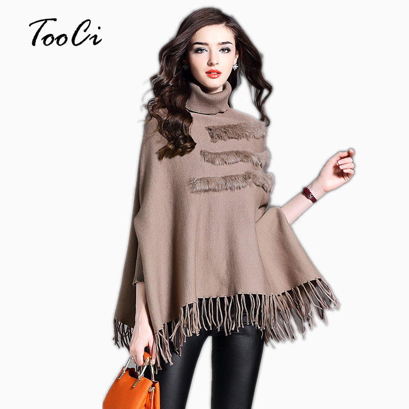Real Rabbit Fur Women Plus Size Pullovers And Sweaters Autumn And Winte High Collar Lady Bat Sleeves Tassel Poncho And Caps