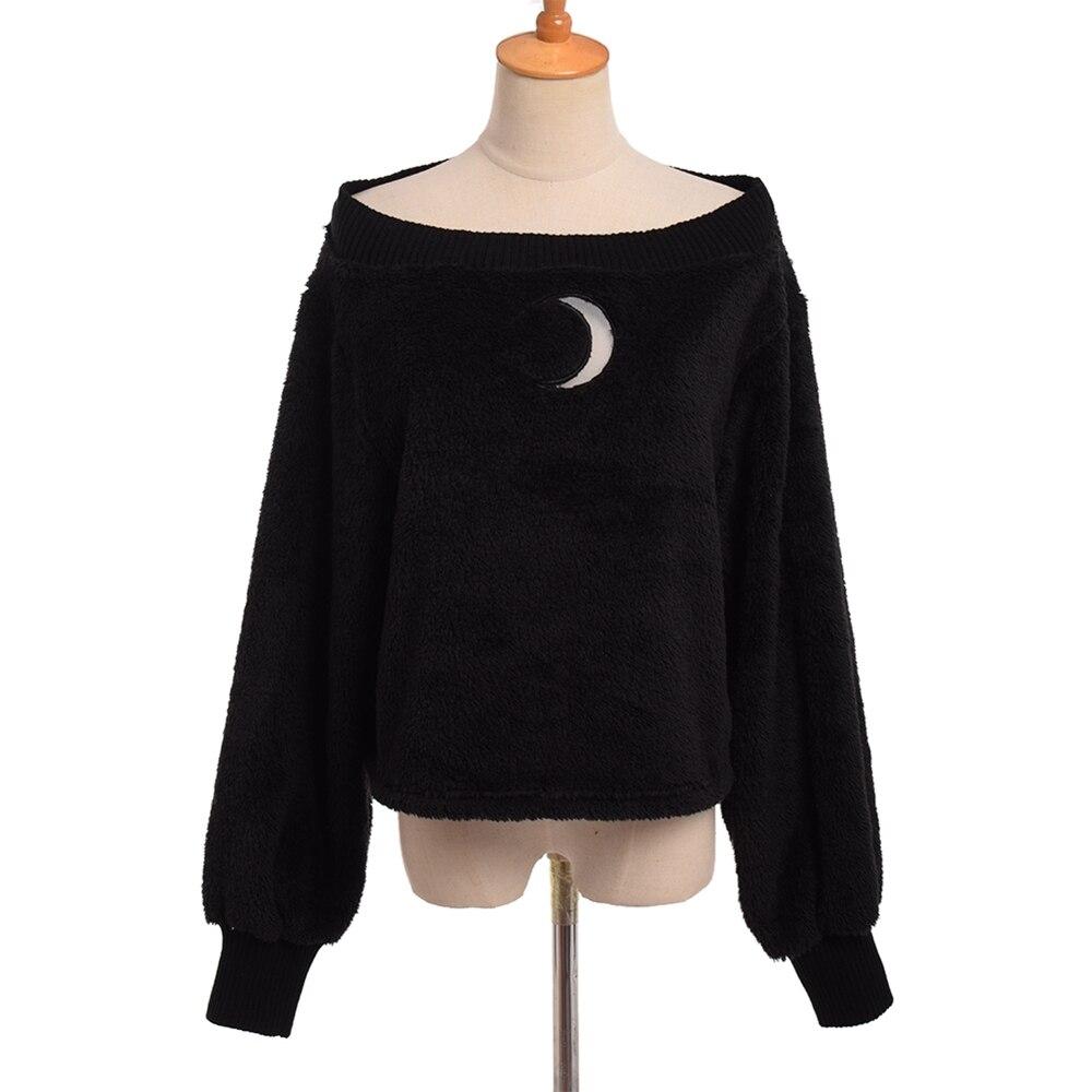 Harajuku Girls Off Shoulder Hoody Cute Moon Emboridery Long Sleeve Tops