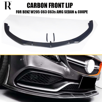 C63 Carbon Fiber Front Bumper Lip Chin Spoiler with side trims for Benz W205 Sedan C205 Coupe S205 Wagon C63 C63s Amg 15 - 22