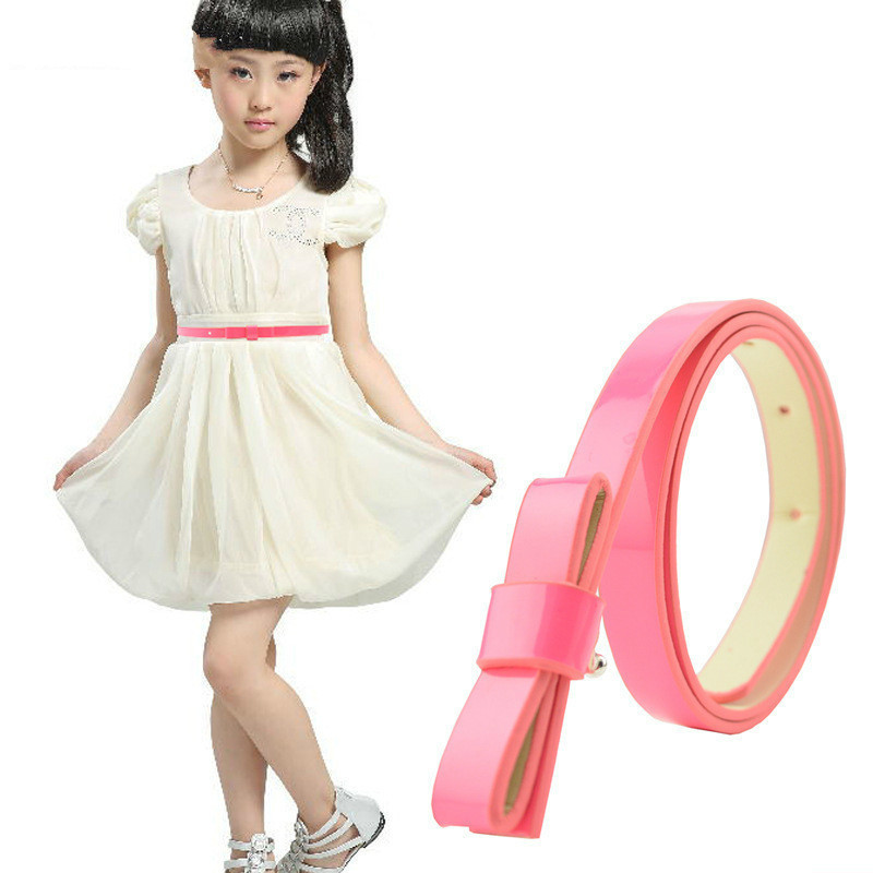 2018 Multicolor Optional 100% Of New Goods Wholesale Fashion Joker Bowknot Adornment Kids Belt Female High Quality PU Belt