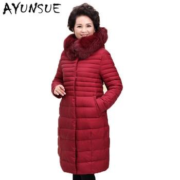 Manteau Femme Hiver White Duck Down Coat Plus Size XXXXXL Thin Warm Winter Jacke Women Ladies Winter Coat Fox Fur Collar XC026
